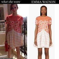 she wore heart print red orange dress by Stella McCartney