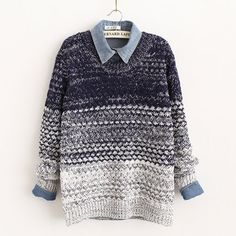 [grxjy560622]Retro Sweet Gradient Color Floral Knit Sweater