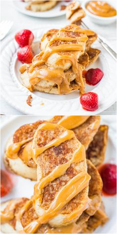 French Toast with Peanut Butter Maple Syrup - My favorite recipe for classic French toast & the peanut butter maple syrup is to die for! You'll never settle for plain maple syrup again! @Averie Sunshine {Averie Cooks}