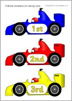 Ordinal Numbers on Racing Cars - SparkleBox Phonics Cards, Ordinal Numbers, Teaching Math, Maths, Cute Clipart, Math Concepts, Numeracy, Classroom Themes, Math Activities