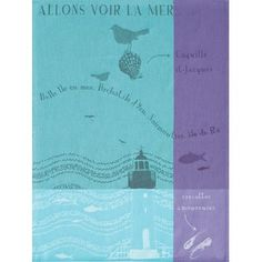 Rivages: Phare (Seashore: Lighthouse) french jacquard-woven Tea Towel by Tissage Moutet