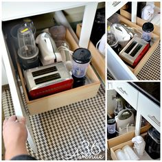 Kitchen organization ideas: install pull out boxes/drawers inside cabinets to store small appliances that aren't used daily Kitchen Countertop Organization, Countertop Decor, Kitchen Organisation, Kitchen Countertops, Home Organization, Organizing Ideas, Kitchen Cabinets, Messy Kitchen, Kitchen Pantry
