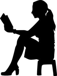 Bog, Læsning, Silhuet, Siddende, Afføring, Kvinde