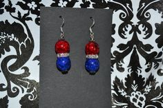 Red White Blue Dangle Earrings  Custom Made  by InspirableCrafts