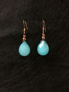 9ct Rose Gold Sterling Silver Aqua Quartzite Earrings Etsy.com/uk/shop/Maree Angelique