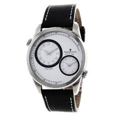 Stainless steel watch with a leather strap and silver case.   Product: WatchConstruction Material: Stainless steel and...