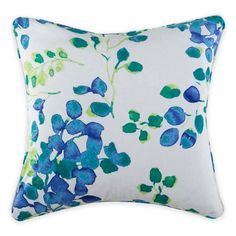 product image for Christian Siriano Watercolor Bloom 18-Inch Square Throw Pillow in Blue