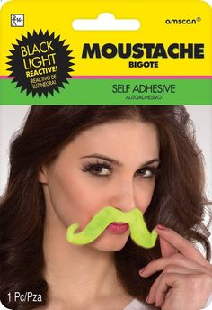 Neon Glow In The Dark Plush Mustache