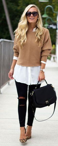 Camel Knit / White Shirt / Black Leather Tote Bag / Ripped Skinny Jeans / Leopard Pumps