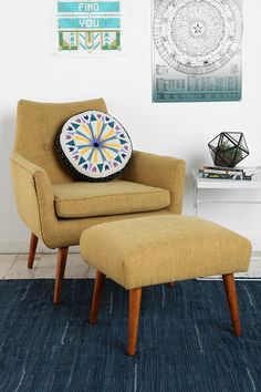 Modern Mid-Century Chair and Ottoman - Urban Outfitters