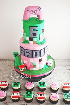 This Pink Minecraft Birthday Cake for a Girl has all the fun of Minecraft plus lots of pink to make it girly. With a pink Xbox Controller Cake topper, a creeper, TNT, a pig, and lots of pixels, its perfect for any kid who loves Minecraft. #minecraft #cake #minecraftcake #pink #creepers #pixels #birthdaycake #birthday Cupcakes Minecraft, Minecraft Birthday Decorations, Minecraft Cake Toppers, Minecraft Birthday Cake, Roblox Birthday Cake, 6th Birthday Cakes, Birthday Cake Girls, Creeper Cake, Buttercream Decorating