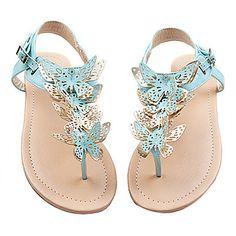 Talon plat T-Strap Sandales Chaussures similicuir femmes (plus de couleurs) - EUR € 19.17