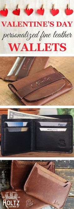 Personalized. Genuine. Full-grain leather. This is the perfect wallet to show your love this Valentine's Day. You can get one of these leather wallets that will last a lifetime now, personalized with initials, quotes, or a full name. Make sure you make this year special.: