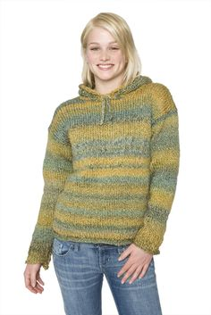 Hooded Knitted Sweater in Lion Brand Homespun - Children and adult