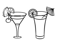 Two cocktails coloring page - Coloringcrew.com
