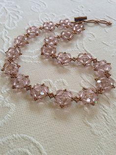 Swarovski crystal pink statement necklace by AmyKanarekDesigns
