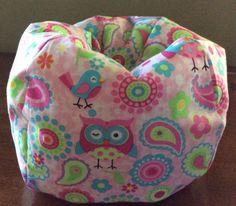 American-Girl-Doll-Or-18-Doll-Bean-Bag-Chair-Cute-Pink-Owls-Paisley