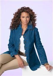Plus Size Scalloped-Edge Denim Jacket image
