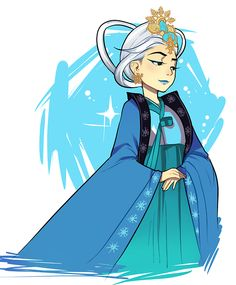 Korean-style Elsa fan art from http://thiscouldhavebeenfrozen.tumblr.com being a Korean...this makes me proud
