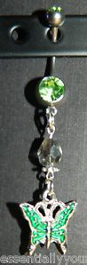 Green Rhinestone & Crystal Belly Navel Ring NEW Butterfly Charm