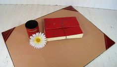 Retro Dark Red Leather Look with Gold Tooling Desk by DivineOrders, $37.00