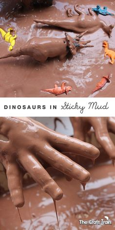 Make dinosaurs in sticky mud - this is a Recipe from the book by Asia Citro of Fun at Home with Kids