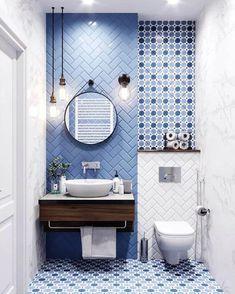 Banheiros decorados com tons de azul Funny Bathroom Decor, Budget Bathroom, Bathroom Renovations, Gold Bathroom, Bathroom Wall, Bathroom Ideas, Bathroom Organization, Organization Ideas, Wall Tile