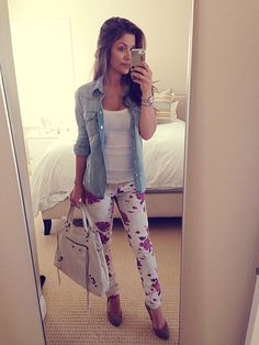 floral jeans with denim button up and white tank underneath