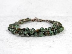 African Turquoise Multi Strand Bracelet Earthy by JustynaSart