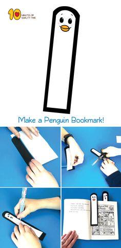 Easy Penguin Bookmark #Bookmarks#kidscrafts#papercraft