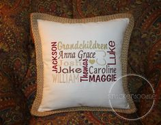 Personalized Family or Granchildren Pillow Cover ~ Perfect For Mothers Day!