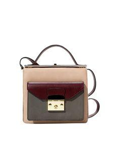 Colorblock Turn-lock Shoulder Bag | BlackFive