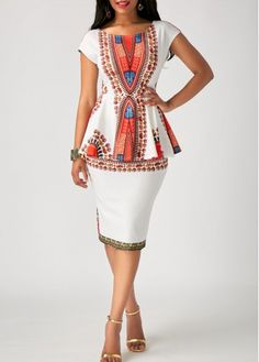 Printed White Peplum Waist Sheath Dress
