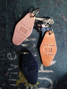 """Our very own and newly trademarked saying """"Work Hard, Live Well"""" stamped leather motel key tag that was greatly inspired by vintage motel key tags. We make these in house using the finest leather sour"""