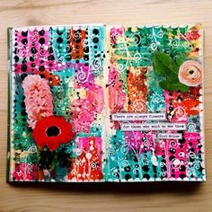 It turns out I have this little color crazy girl inside me. She completely took over this art journaling page! 😄 I had the best time making this! ❤️❤️❤️..#artjournal #mixedmedia #acrylicpaint #distressink #doodle #collage #journaling #maremismallart #poscapens