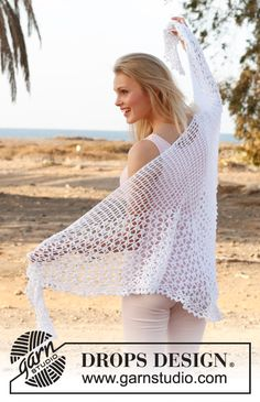 "Summer Princess - Crochet DROPS shawl with lace pattern in ""Safran"". - Free pattern by DROPS Design Poncho Crochet, Crochet Shawls And Wraps, Crochet Scarves, Crochet Clothes, Free Crochet, Shawl Patterns, Knitting Patterns Free, Crochet Patterns, Free Pattern"