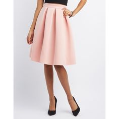 Charlotte Russe Pleated Scuba Midi Skirt ($27) ❤ liked on Polyvore featuring skirts, blush, midi skirt, white knee length skirt, sexy skirt, white midi skirt and box pleat skirt