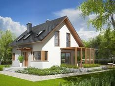 Projekt domu AC Lea (wersja B) CE - DOM - gotowy koszt budowy Small House Exteriors, Farmhouse Lighting, Design Case, House Music, Traditional House, Ground Floor, Home Projects, Planer, House Plans