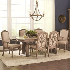 La Bauhinia French Antique Carved Wood Design Dining Set (1 Table, 6 Side Chairs, 2 Arm Chairs), Beige, Size 9-Piece Sets