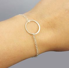 Sterling Silver Eternity Ring Open Ccircle bracelet - simple everyday jewelry -  gift for BFF