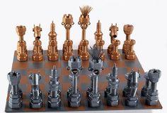 Set di scacchi Metaldiorama arte del di MetalDioramaWoodArt