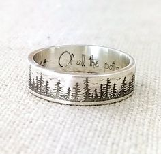 accessories silver Personalized Silver Ring - Wedding Band - Forest Jewelry - Engraved Ring - Pine Tree Ring - Stocking Stuffer - Gift - John Muir Gift for Her Custom Wedding Rings, Silver Wedding Rings, Silver Engagement Rings, Engagement Ring Cuts, Wedding Ring Bands, Silver Weddings, Bling Wedding, Gift Wedding, Sterling Silver Jewelry