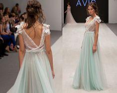 Wedding dress ANSEL mint wedding dress by RaraAvisAngeEtoiles