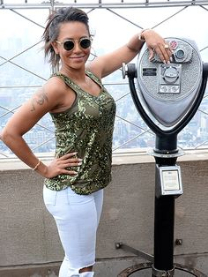 Mel B (aka Scary Spice), rockin' translucent retro round sunnies, enjoyed the New York City sights atop the Empire State building!