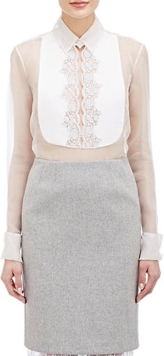 Gabriela Hearst Lace Bib Blouse at Barneys New York White Outfits, Pretty Outfits, Barong Tagalog For Women, Filipiniana Dress, Filipino Fashion, Lace Dress, Dress Up, Formal Tops, Cocktail Wear