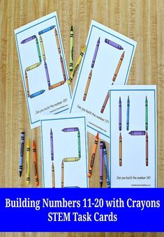 Your children at home and students at school will have fun using this set of STEM task cards and crayons to build ten numbers from eleven to twenty. #STEM #numbers #earlymath #preschool #kindergarten #jdaniel4smom