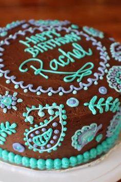 teen girl birthday cake. paisley cake