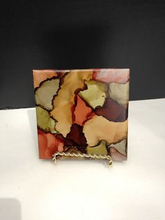 "Camouflage Painted Tile 4"" x 4"",  Art,Display, Trivit, Coaster, Plant Stand, Candle Base, Handpainted Alcohol Ink, Rustic by ArtsyCreationsShop on Etsy"