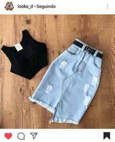 Look casual com saia midi jeans e cropped preto. Teen Fashion Outfits, Basic Outfits, Cute Fashion, Trendy Outfits, Summer Outfits, Cute Outfits, Fashion Looks, Fashion Casual, Emo Outfits