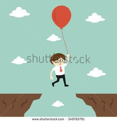 Business concept, businessman flies across a gap to another cliff by using balloon. Vector illustration.